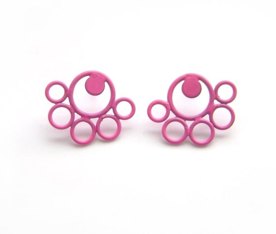 neon pink round post earrings, powder coating, simple stud earrings, hypoallergenic posts, colourful contemporary jewellery SALE LIQUIDATION