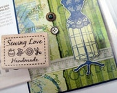 Handmade Label Sewing Love Rubber Stamp