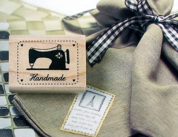 Handmade Label Black Sewing Machine Stitch Line Rubber Stamp