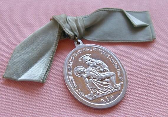Vintage Religious Aluminum Medal St. Joseph Pieta Catholic Pin