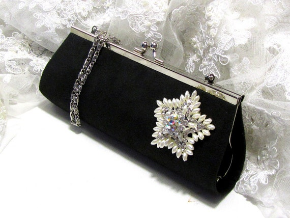 bridesmaid clutch, wedding clutch, Crystal pearl clutch, bridesmaid evening bag, black vintage inspired clutch