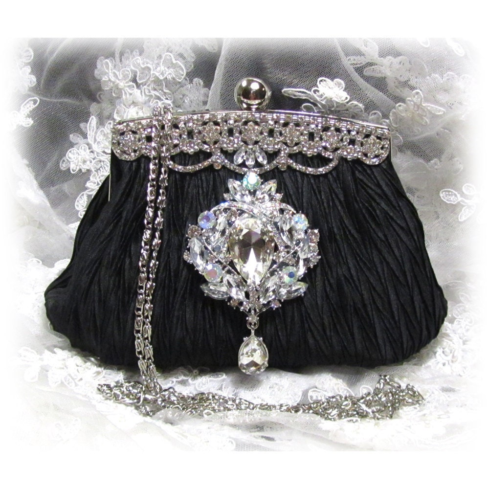 Vintage inspired victorian crystal french couture clutch for French couture