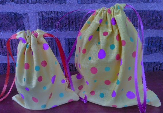 2 Fabric Gift Bags Multi-Colored Circles on Yellow Upcycled Reusable