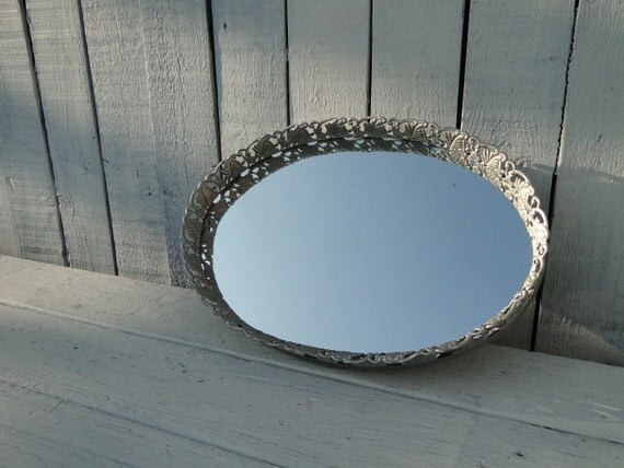 Vintage Ornate Baroque Oval Mirrored vanity make-up tray Romantic Bedroom Hollywood Regency Paris Apartment French Country in Nickel