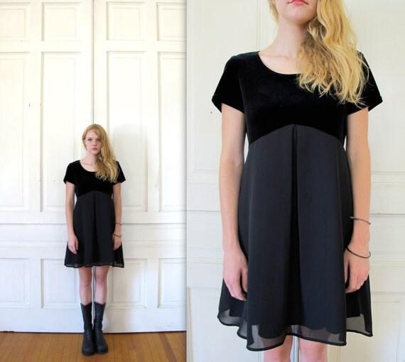 Vtg 90s Black Baby Doll Mini Dress / Velvet Sheer Skirt Grunge Dress
