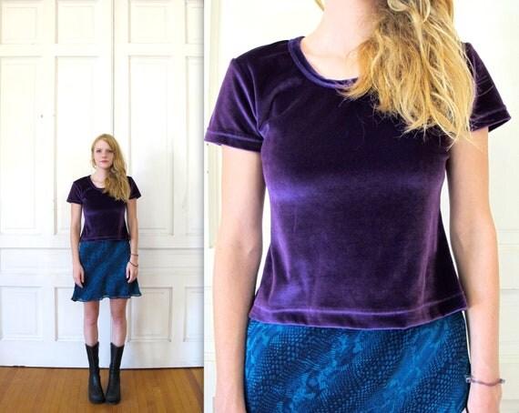 Vtg 90s Cropped Purple Velvet T-Shirt / Crop Top