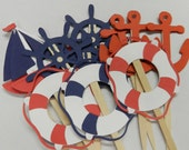 RED and NAVY Nautical Cupcake Toppers Boat, Anchor, Helm, Life Preserver