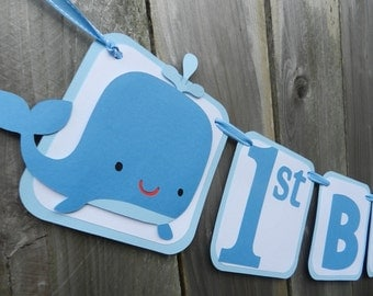 Whale 1st Birthday Banner Blue and White