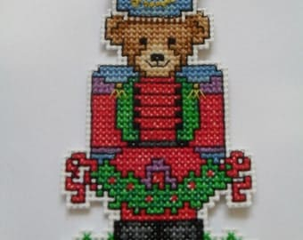 Cross stitch teddy Christmas ornament