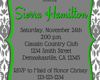 Grey Demaskas Bridal / Wedding / Baby Shower Invitation Print Your Own 5x7 or 4x6