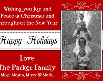 Red Photo Christmas Card Print Your Own 5x7 or 4x6