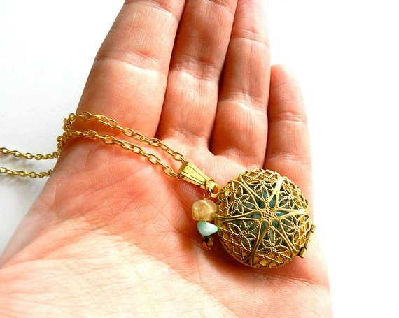 Gold Locket Necklace - Flower Star Leaf Filigree, Turquoise Aqua Larimar Crushed Gemstone, Round Pendant, Beachy Summer Fashion