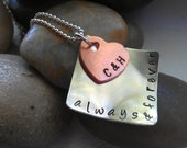 ALWAYS and FOREVER Hand Stamped sterling silver and copper pendant