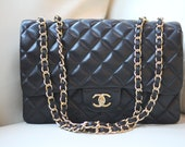 Vintage Black Classic Jumbo Quilted Lambskin Leather Flap Bag