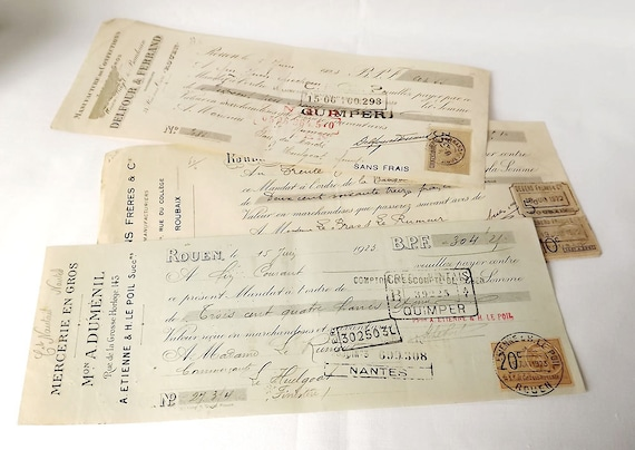 Three French notes, bills, credits from the 1920s