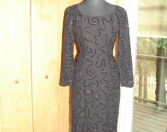Show Stopper Long Sleeve Black Wiggle Dress with Sequined Swirls By House of Chase S