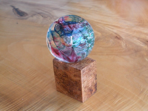 Glass Marble and Cherry Burl Stand by Jonathan Winfisky