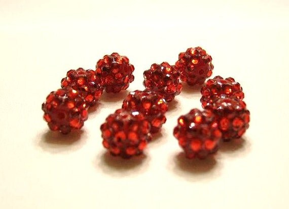10 RED 12mm  Ball Beads