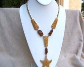 Rare Tortolani necklace modernist STARFISH signed plus plaque amber gold plate Frank Tortolani