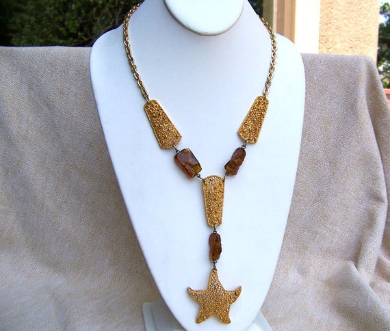 Rare Tortolani necklace modernist STARFISH signed plus plaque amber gold plate Frank Tortolani