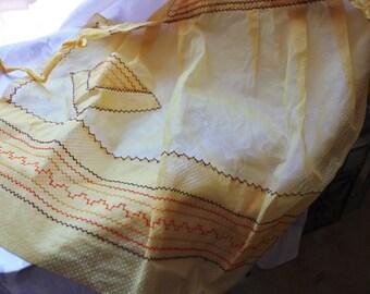 Vintage Buttercream Yellow And White Polka Dot Apron 1950s