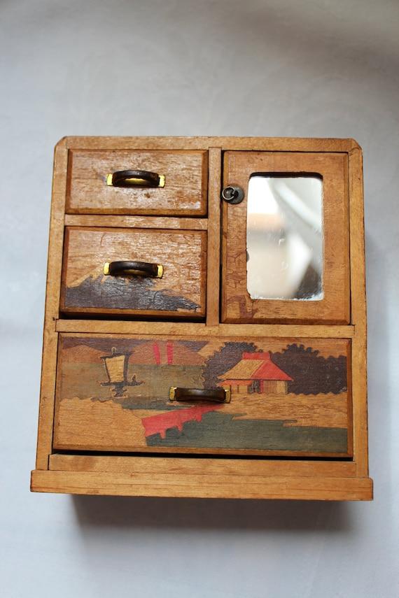 Vintage Japanese Curio Style Jewelry Box