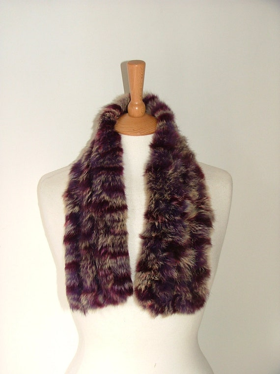 Vintage real purple rabbit fur and wool mottled scarf collar small wrap very soft