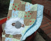 Sweet Farm Flannel and Minky Patchwork Baby Quilt with Sheep Applique 40x44 - Ready to Ship