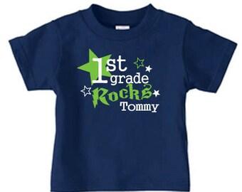 Personalized 1st grade rocks t shirt for kids, fist grad shirt, back to school shirt