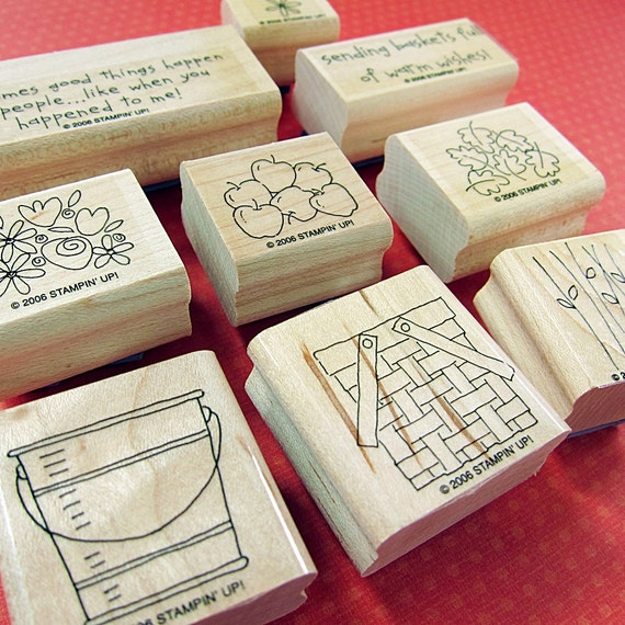 Rubber Stamps- Basket Full of Fun Two Step Stampin Wood Mounted Stamp Set of 9 -flower apple bucket- Stampin' Up Retired