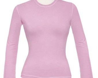 Pink High Neck Tee Shirt / 29.00 / FREE usa Ship / Yellow Top / Green T-Shirt / Pink Long Sleeve Top / SALE  Only Few LEFT /Cotton Lycra Tee