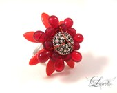 Red flower cocktail ring- glass metal silver plated fantasy big OOAK ruby red
