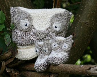 BABY KNITTING PATTERN in pdf - Owl Baby Hat and Booties