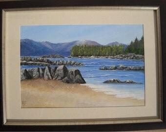 "Original 9"" x 6"" Acrylic painting - ""The Beach"" -  unframed on canvas board"