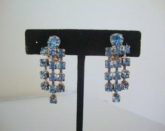 Baby Blue Rhinestone Dangle Earrings Drippy Sparkle Drops