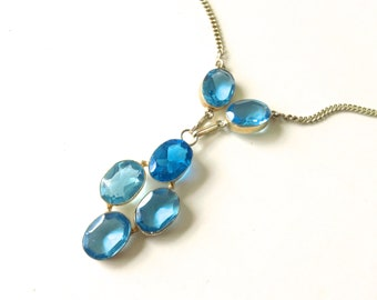 Blue Glass Pendant Necklace Feminine Retro Brides Party Jewelry