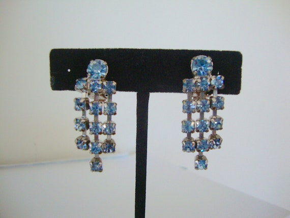 Baby Blue Rhinestone Dangle Earrings Drippy Sparkle Drops