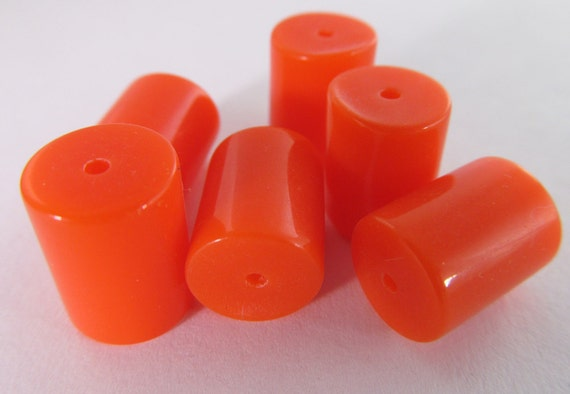 20 Vintage 9x12 Bright Orange Lucite Tube Beads Bd377