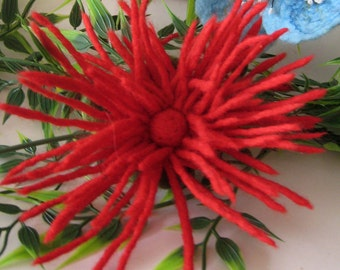 Felted pin brooch, wool flower, red, dahlia, textile jewelry, wedding accessories, for prom, birthday gift idea, handmade, unique