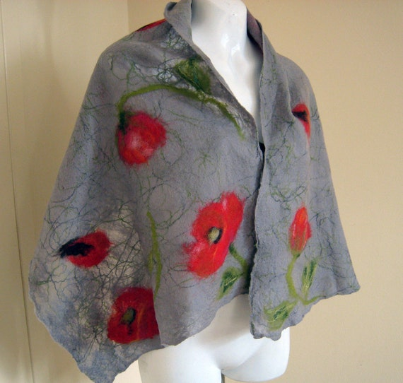 Felted scarf merino wool - grey, red, green - Poppies made to order