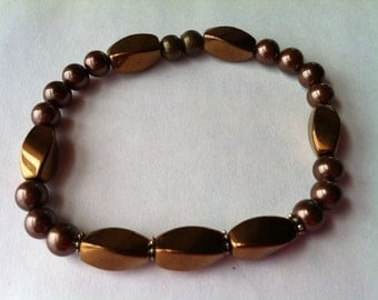 Bronze and Chocolate Brown Magnetic Bracelet
