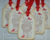 Beautiful Vintage Inspired Sleigh and Wreath Tags with Cardinals