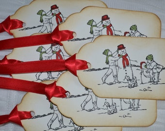 Vintage Inspired Holiday Tags - Children Making Snowmen