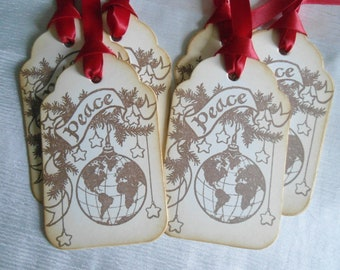 Vintage Inspired Peace Banner and Ornament Gift Tags