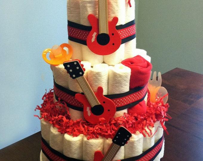 Rock Star Guitar Diaper Cake  - Three Tier Baby Shower Gift or Centerpiece boy neutral red black orange rock roll