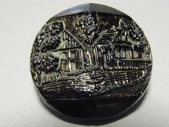 Lake Cottage, Antique Picture Button, 18 mm Vintage Black Glass Button