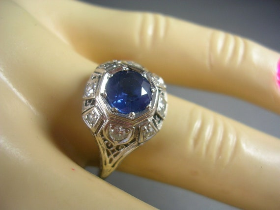 Ring on Layaway - Reserved for D - Payment 4 for D - 1930s Sapphire and Diamond Filigree Ring Art Deco 1.24 Ctw Size 6.75 White Gold 2.4gm