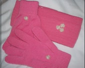 """Winter Gloves Ear Warmer Headband Set - """"Pretty In PINK"""" - OOAK - Upcycled Gift Set - Pink Gloves - Pink Ear Warmer - Pearly Roses -"""