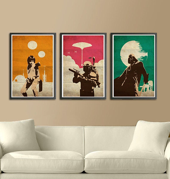 Vintage pop art star wars trilogy for Pop wall art