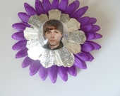 Justin Bieber setting On A Pinecone Hair Barrette With Or Without Silk Flower